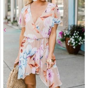 NWT Pink Lily Boutique Beige Floral Ruffle Dress